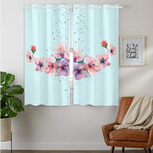Blackout Curtains Darkening 2 Panels Grommet Window Curtain for Bedroom Beautiful Watercolor Pink Peach Blossom Flowers Blue