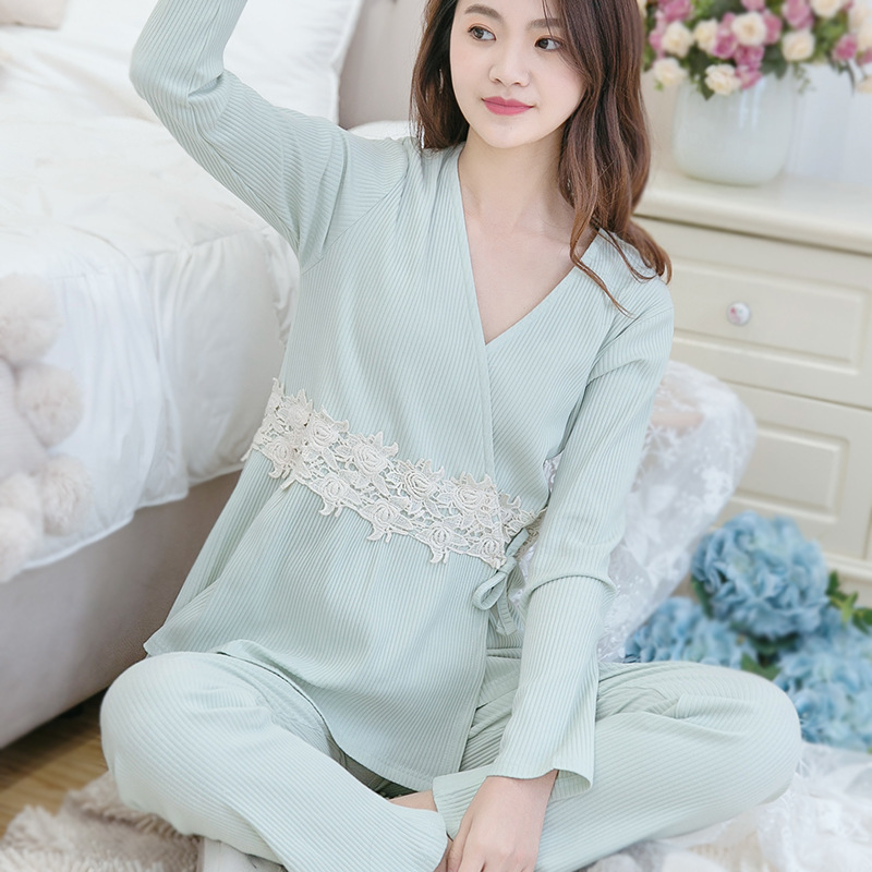 Spring Fall Maternity sleepwear breastFeeding Pregnant Suit Postpartum clothes maternity pajamas Pregnant women feeding suits sally nice postpartum body seamless pregnant siamese girly corset leotard postpartum maternity waist trainer corset