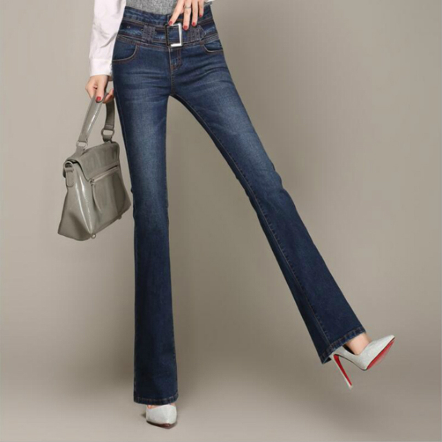 d49c0433f5e 2018 new spring and autumn Fashion casual high waist cotton brand plus size  female women girls flare pants jeans clothing 79129