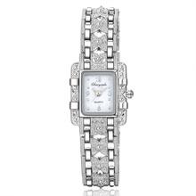 2018 New Fashion bransoletka zegarki damskie luksusowe srebrne bransoletki zegarek uroda prostokąt Dial Projektant Ladies Quartz zegarki na rękę tanie tanio Wstrząsy 20mm 19 5 cm Stopu No waterproof 10mm Szklane CYD CHAOYADA Papieru Fashion Casual Bracelet Clasp White Gold