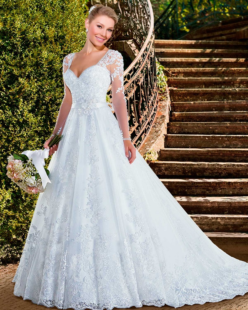 2016 Sexy Ball Gown Wedding Dresses See Though Back Lace Long Sleeve Wedding Dress 2016