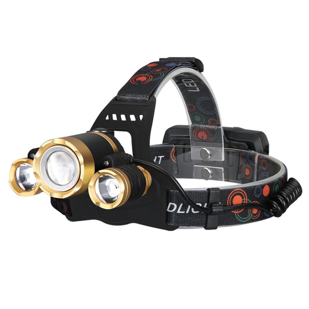 30w LED Outdoor Sport Headlamp Headlight Torch 3 Heads Strong light Zoom Long-range Fishing Lighting Head-worn Exploration Light