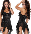Black sexy lingerie sexy sleepwear nightgown women's charm night dress