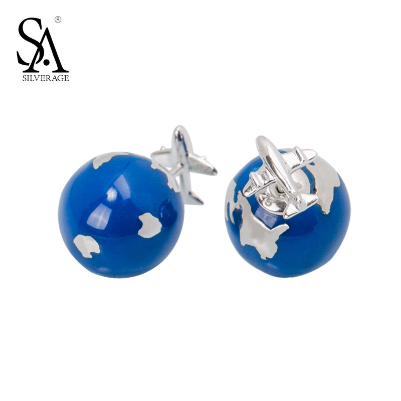 все цены на SA SILVERAGE Real 925 Sterling Silver Stud Earrings 2017 Classic Blue Ball With Aircraft Jewelry Wedding Gift Earrings For Women онлайн