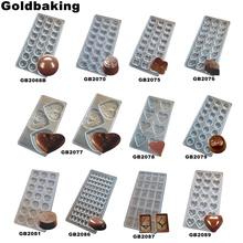 Goldbaking Heart Polycarbonate Chocolate Mold PC Coin Chocolate Mould DIY Baking Tools