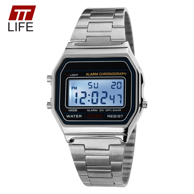 TTLIFE Stainless Steel Military Clock Waterproof Watches Fashion Men s Gold LED Digital Wrist Watches Men