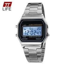 TTLIFE Acier Inoxydable Militaire Horloge Étanche Montres Mode Hommes Or de LED Numérique Montres Hommes Jour Date Chronomètre