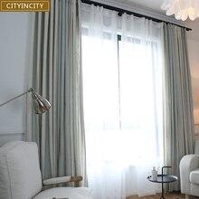 CITYINCITY ストリップリビングルーム地中海スタイルの家の装飾カーテン寝室用フェイクリネンドレープカスタマイズ