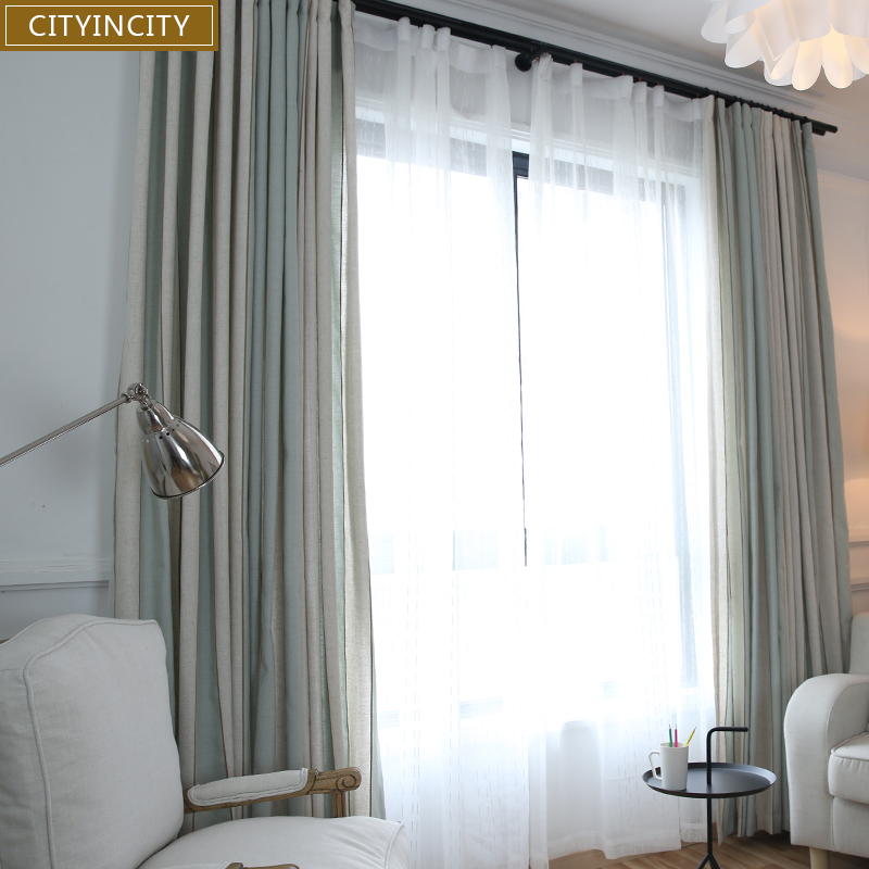 CITYINCITY Strip Curtains For Living room Decoración para el hogar de estilo mediterráneo Cortinas para el dormitorio Faux Linen Drapes Customized