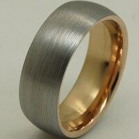 8mm einzigartige pinsel & glänzenden 2 ton stieg vergoldung & grau hartmetall-ring