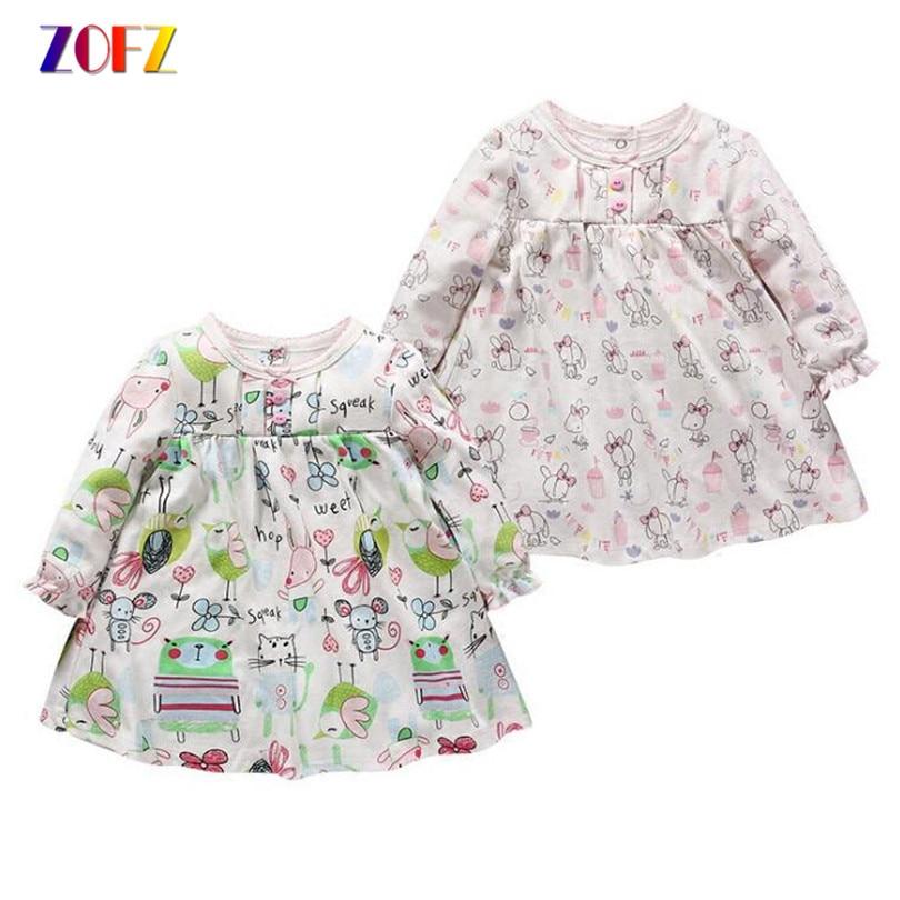 ZOFZ Baby Girl Clothes 2017 Bebé de La Manera vestido de la historieta de kawaii