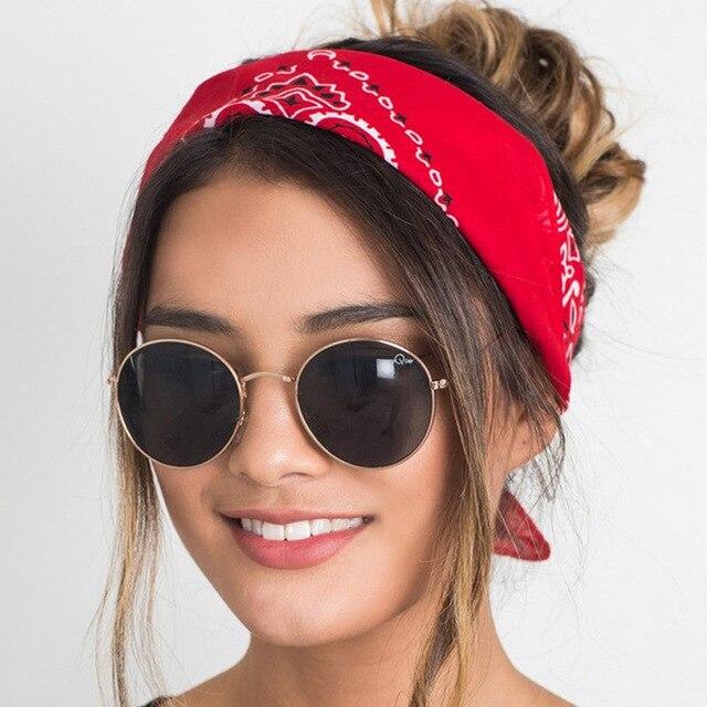 Korea Fashion 2019 Women Hair Accessories Linen Bandana Scarf Square Female Bandanas Headwear Rock Cool Girls Multi Headbands