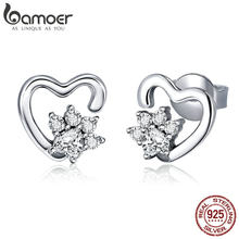 BAMOER Fashion 925 Sterling Silver Classic Heart Clear Cubic Zircon Stud Earrings for Women Sterling Silver Jewelry 2018 SCE415(China)