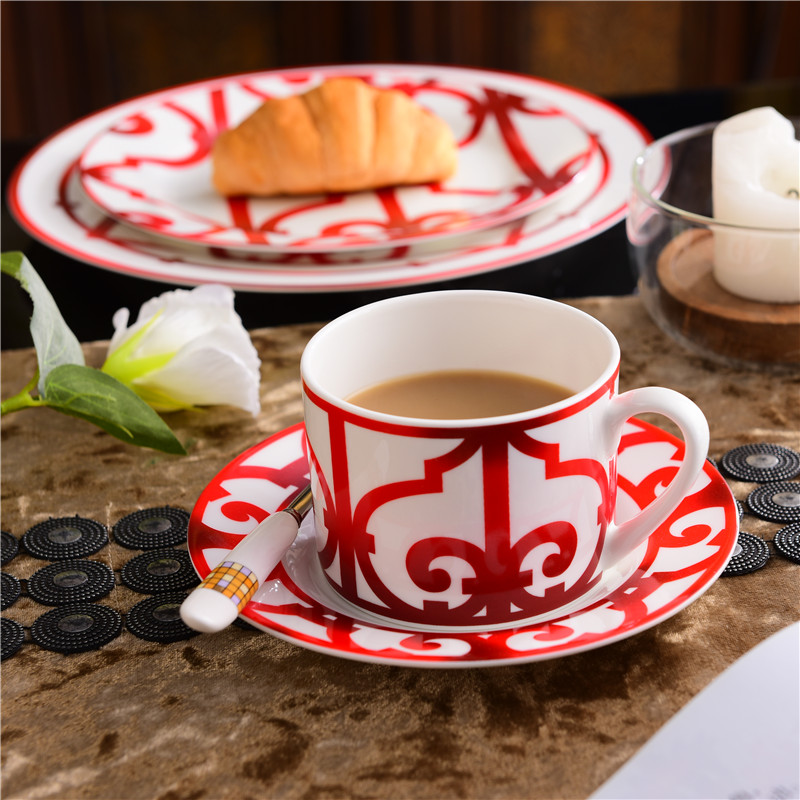 High Grade Bone China Chinese Red Coffee Cup Ceramic Tea Black Tea Cup Dish Animal Tablewar Set Wedding and Housewarming Gifts in Coffee Cup Saucer Sets from Home Garden
