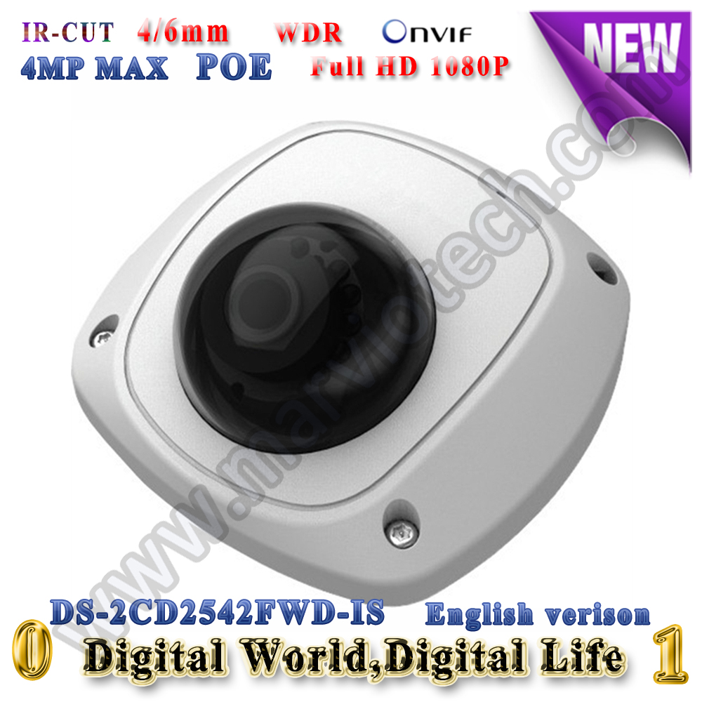 DS-2CD2542FWD-IS hikvision ip camera 4mp poe ip cameras outdoor WDR Video Surveilance camera mini audio alarm TF Card slot cd диск fleetwood mac rumours 2 cd