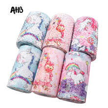 AHB Printed Reversible Sequin Ribbon 75mm Cute Unicorn Newest DIY Hair Bows Decoration Accessories 2Y