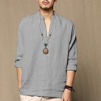 2018 New Men Tshirts Long Sleeve Cotton Linen Solid T Shirts Autumn Spring Fashion Style Loose