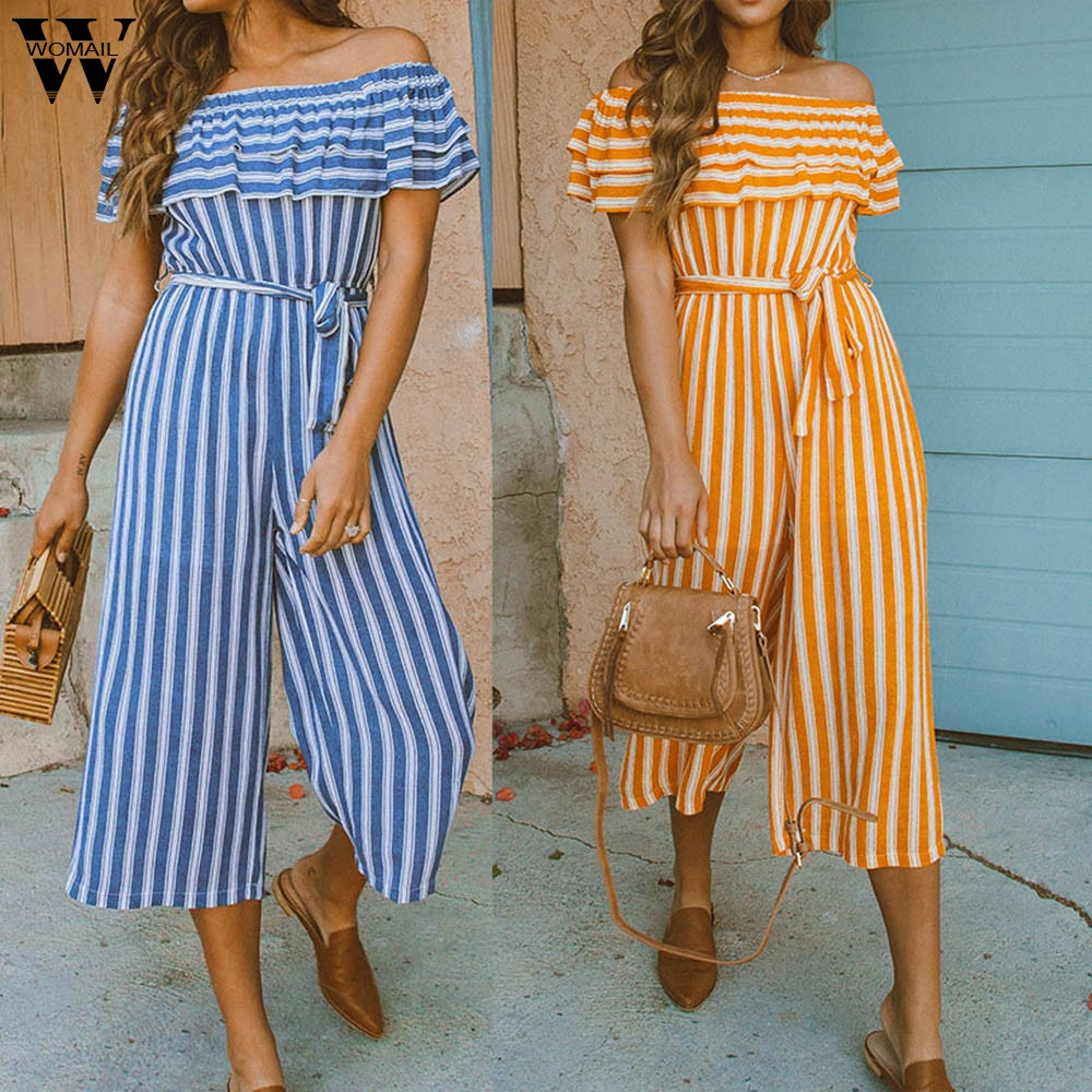Womail bodysuit Women Summer Casual Sexy Stripe Off Cold Shoulder Ruffles Playsuits   Jumpsuits   fashion new 2019 dropship M1