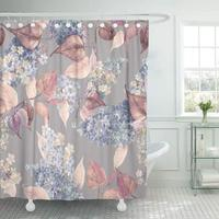 Colorful Abstract Watercolor Beautiful Lilac Flowers Green Anniversary Beauty Birthday Decor Shower Curtains Bathroom Curtain