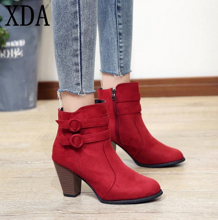 2013fb58a Mujer Xda marrón Nueva Zapatos Botas Tacón Retro 2019 Moda Booots Martin  Corta Negro De rojo ...