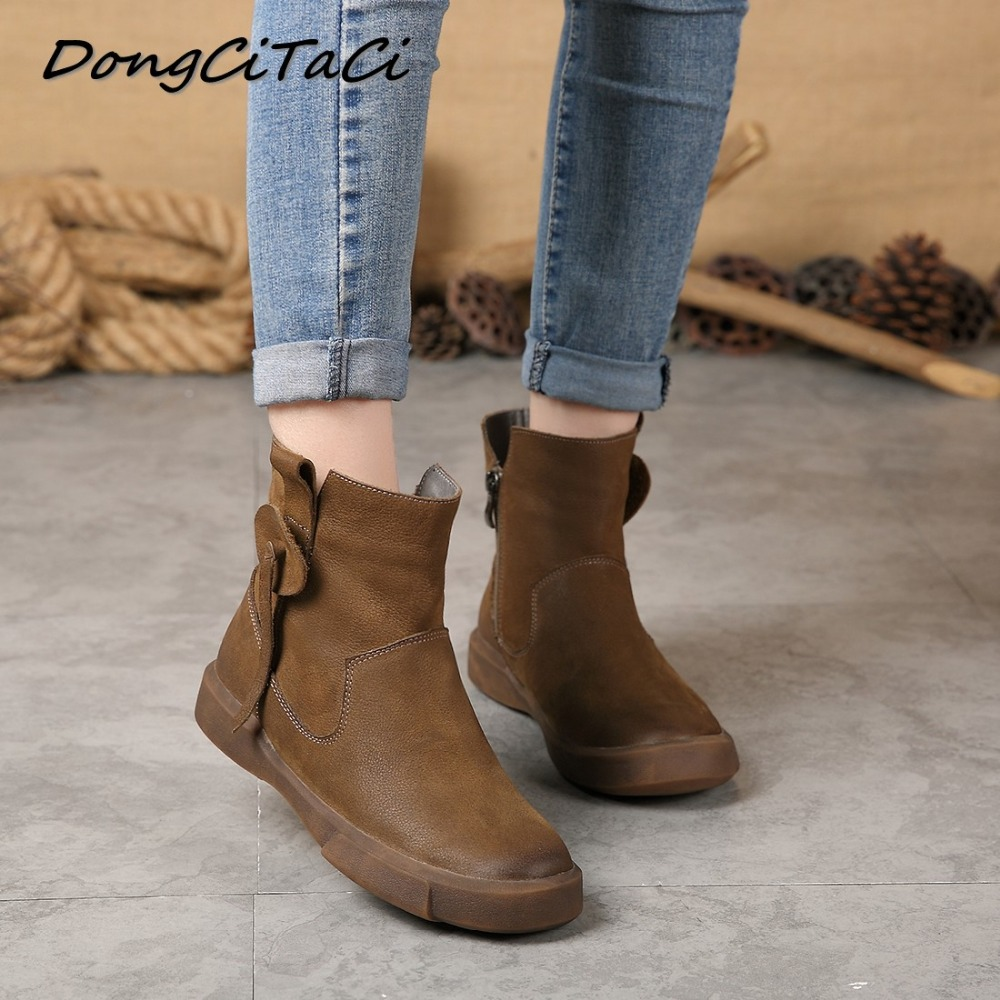 DongCiTaCi Autumn Winter Women Cow Leather Snow Boots shoes Woman Retro Female Ankle Boots Genuine Leather Short Martin Boots цена