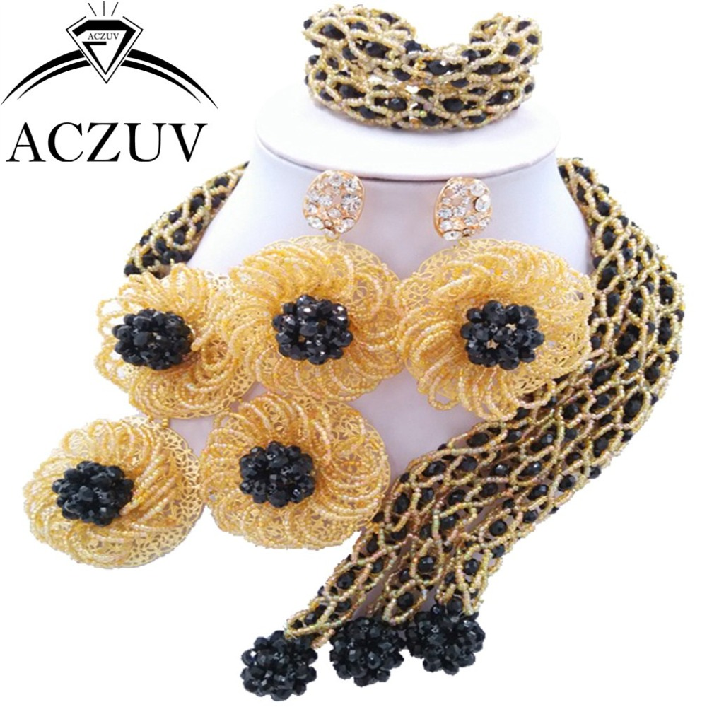 Brand ACZUV African Jewellery Designs Black Gold Crystal Beads Jewelry Sets Nigerian Wedding Necklace AN052Brand ACZUV African Jewellery Designs Black Gold Crystal Beads Jewelry Sets Nigerian Wedding Necklace AN052