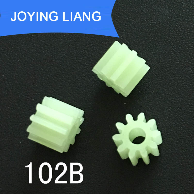 102B 0.5M GEARS 10 Teeth 2mm Shaft Loose Pom Plastic Gear Toy Model Motor Parts 10pcs/lot