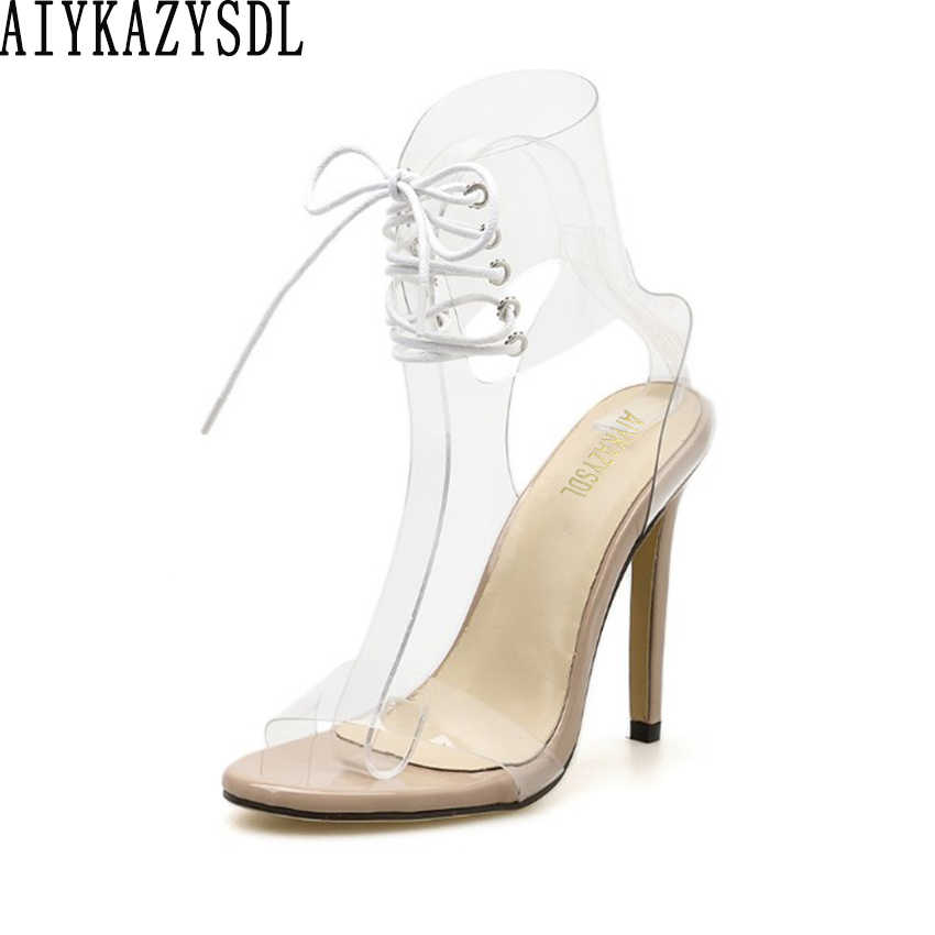 AIYKAZYSDL Women Gladiator Sandals PVC Open Toe Clear Transparent High Heel Stiletto Cross Strap Wedding Shoes Ankle Wrap Bootie