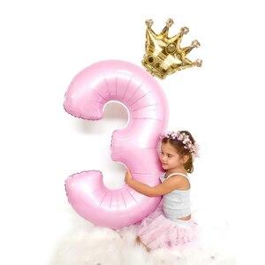 Image 1 - 2 Cái/lốc 32Inch Số Bóng Bay Chữ Số Không Ballon Trẻ Em Sinh Nhật Hoang Một Đồ Trang Trí Hình 30 Ans Decoracao coroa