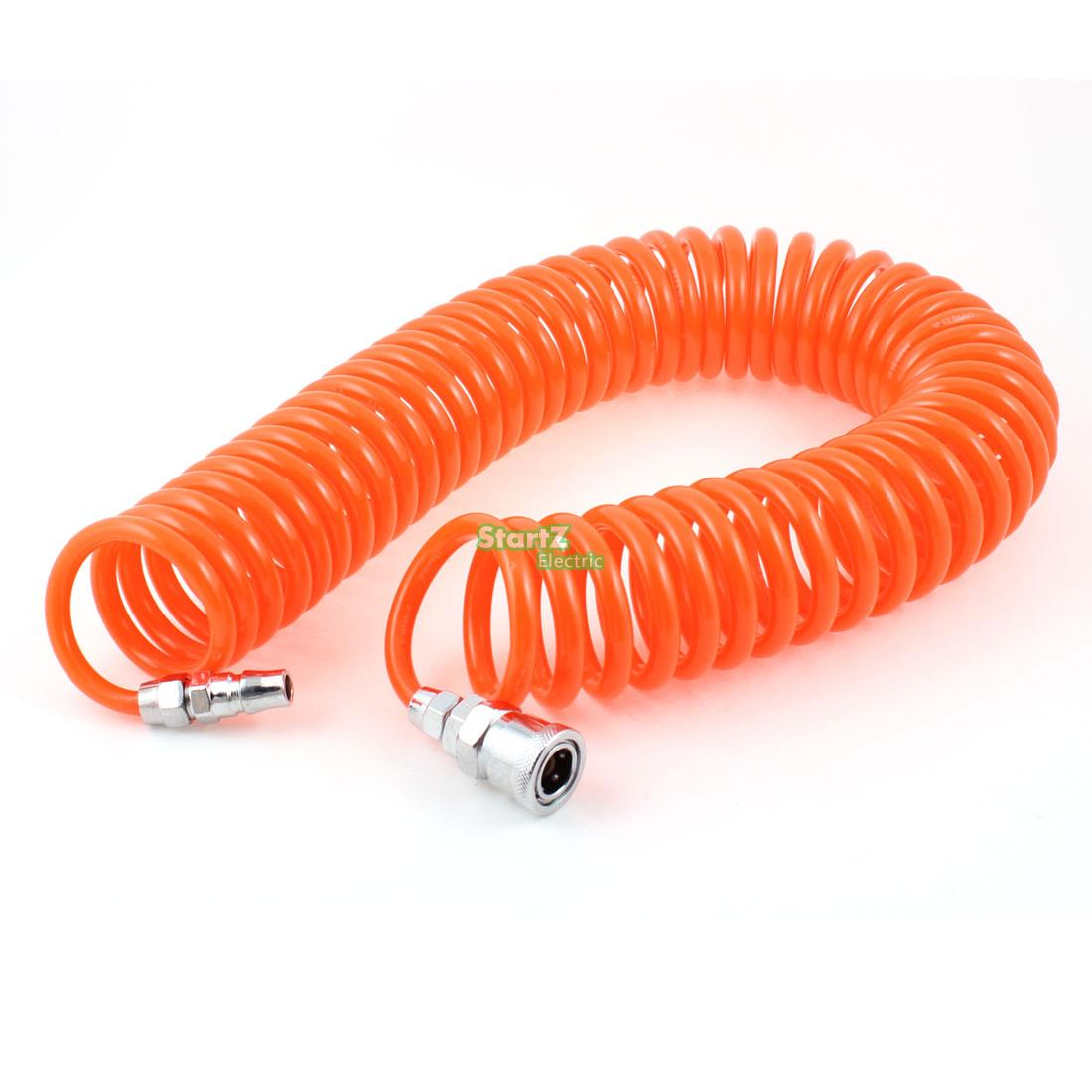 12M 39 Ft 8mm x 5mm Polyurethane PU Recoil Air Compressor Hose Tube Orange Red 12m 39 ft 8 x 5mm flexible pu recoil pipe hose for air compressor free shipping