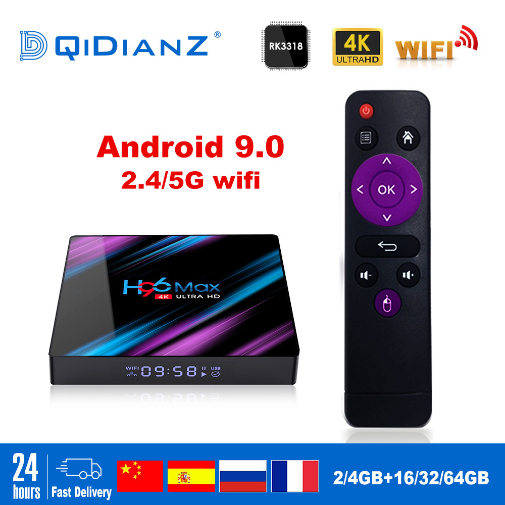 Smart TV BOX H96max Android 9.0 Google Assistant 4K Dual Wifi BT Netflix Media player Play Store Free App Fast Set top BOX