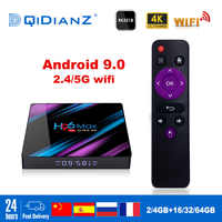 H96max Android 9.0 Smart TV BOX Google Assistant TV receiver 4K Dual Wifi BT Media player Play Store Free App Fast Set top BOX