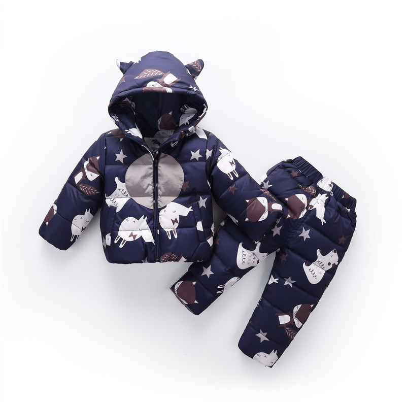 все цены на Dulce Amor Kid Down Jacket Set Baby Boys Girls Clothes Set Winter Warm Duck Down Parkas Children Down Jacket+Pants 2PCS Snowsuit онлайн