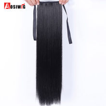 "AOSIWIG Hair Tail Hairpiece Ponytail Synthetic Tress of Hair 22"" Long Straight Fake Ponytails Clip On Ponytail 20 Colors(China)"