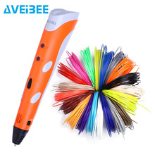 3D Pen Model 3 D Printer Drawing Magic Printing Pens With 100/200M Plastic ABS Filament School Supplies For Kid Birthday Gifts