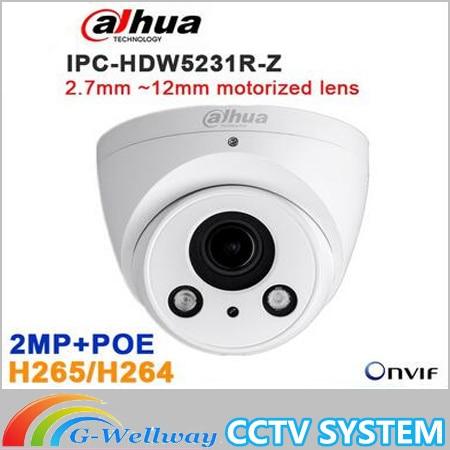 Original Dahua IPC-HDW5231R-Z 2MP WDR IR Eyeball Network Camera 2.7mm ~12mm motorized lens CCTV IP POE IR DH-IPC-HDW5231R-Z dahua 3mp motorized ip camera ipc hfw2320r zs 2 7mm 12mm new model replace for ipc hfw2300r z cctv camera free shipping