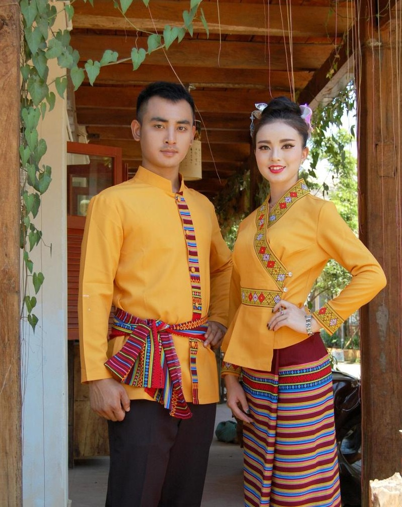 South East Asia Thailand Laos YunNan Hotel uniform Orange yellow long sleeve Top skirt collocation suits men women Special wear 33