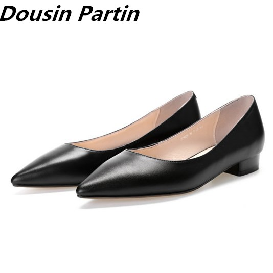 Dousin Partin Black Leather Low Heeled Women Pumps Round Toe Women shoes Cute ladies office shoes
