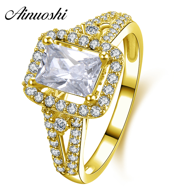 AINUOSHI 10K Solid Yellow Gold Engagement Ring 1 Carat Rectangle Cut Sona Simulated Diamond Fine Jewelry Women Wedding Halo Ring ainuoshi 10k solid yellow solid gold luxury wedding ring 2 carat round cut simulated sona diamond jewelry women engagement rings