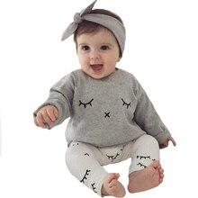 Spring Infant Boy Clothing Set 2017 New Eyelash Pattern T shirt+Sleeping Pants 2pcs Boy Infant Clothing Set Spring Baby Set Girl