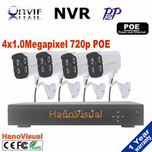Smart Home Security 4CH NVR Video Recorder System Kits Onvif 720P 1.0 MP Outdoor CCTV Network POE IP Camera Surveillance System