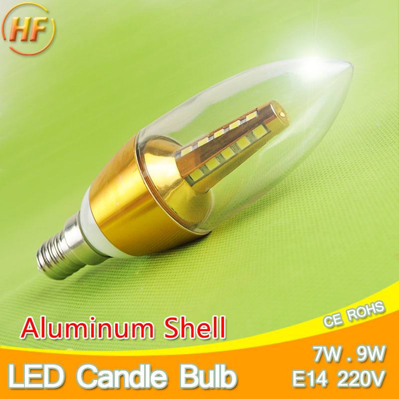 Aluminum Velas Lampara Led E14 Candle LED Bulb 7w 9w LED Light Lamp 220V Golden Silver Cool Warm White Ampoule Lampadina Candela e27 umbrella bulb 24w 36w led bulb golden aluminum shell led lamp ac 110v 220v 240v led light smd5730 warm cold white light