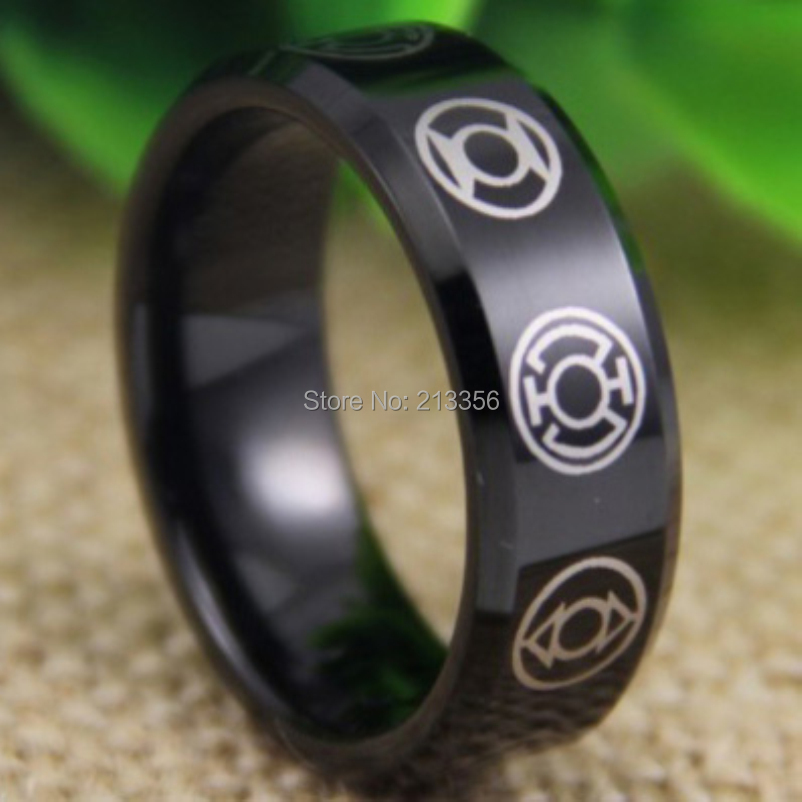 free shipping usa uk canada russia brazil hot selling 8mm green lantern darkest night black beveled - Green Lantern Wedding Ring