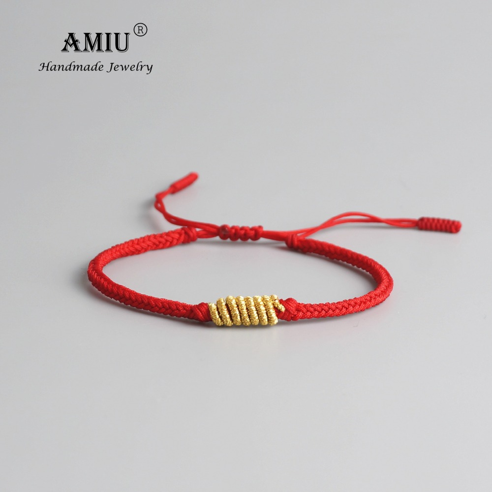 AMIU Tibetan Buddhist Gold-color Lucky Charm Tibetan Bracelets & Bangles For Women Men Handmade Knots Rope Bracelet