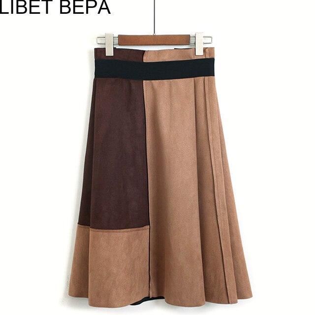 e8d888917 € 16.81 45% de DESCUENTO|Nueva llegada 2018 mujeres Suede MIDI falda Otoño  Invierno vintage patchwork plisado elegante falda cintura alta femininas ...
