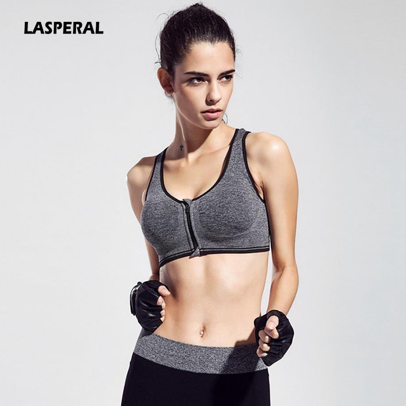 LASPERAL Women Underwear Top Push-Up Bra Seamless Padded Bra Crop Top Shakeproof Wirefree Zipper Top Vest Fitness Underwear