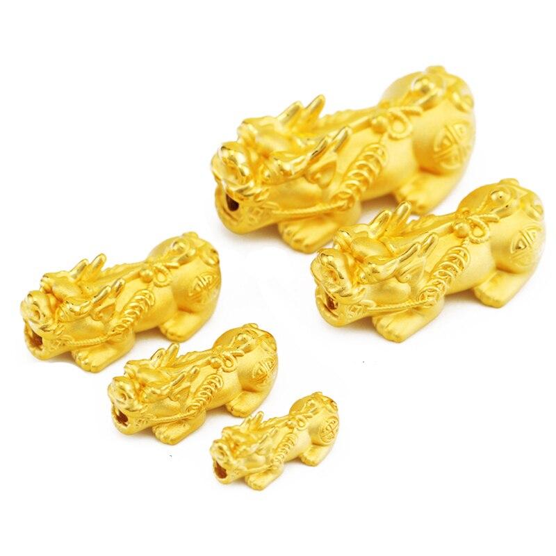 Nouveauté Pure 999 24 k or jaune 3D Pixiu perle pendentif 1.5-2g taille moyenne