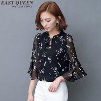 Womens tops and blouses floral chiffon women summer blouses 2018 female blouse summer 2018 KK037