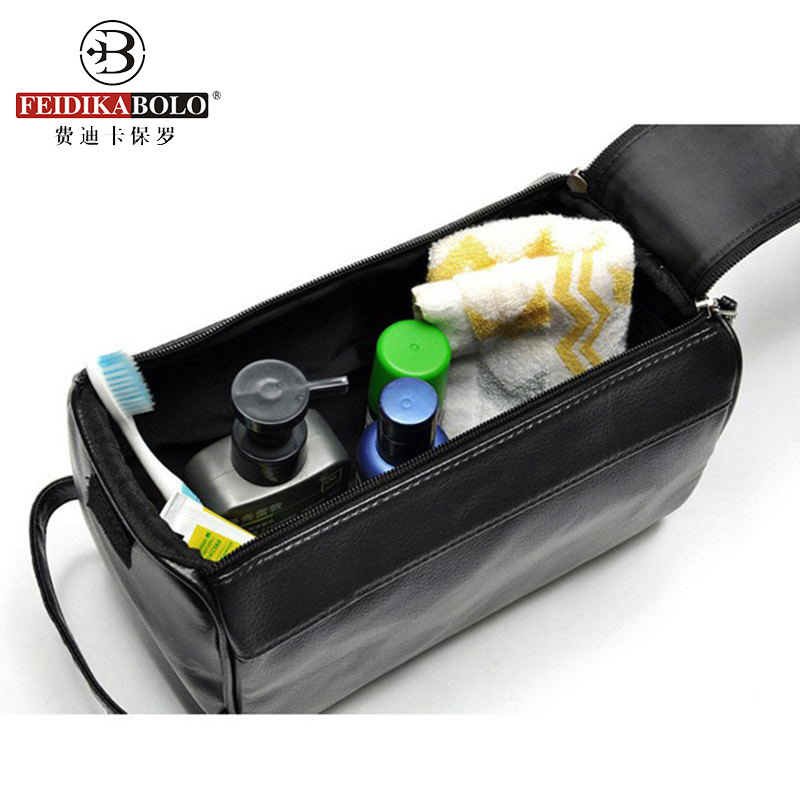 Men Wash Bag Leather Admission Package Travel