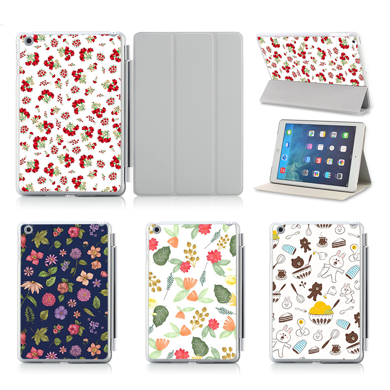 Fashion Flower Pattern Leather Case Cover For Apple iPad Air/ 2 Case Cover Floral Printed Dot Texture Series 4